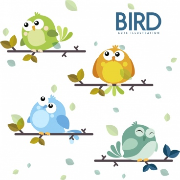 birds icons collection cute cartoon character