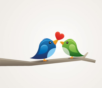 birds in love vector graphic