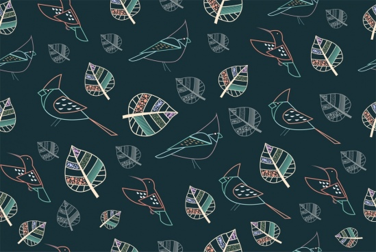 birds leaves pattern outline colorful repeating style