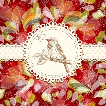 birds lined background shading vector line art
