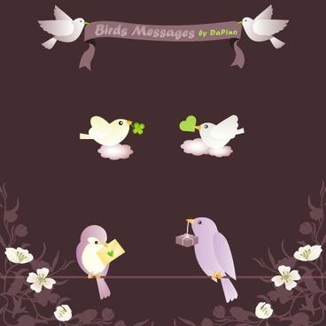 Birds Messages Vector Graphics