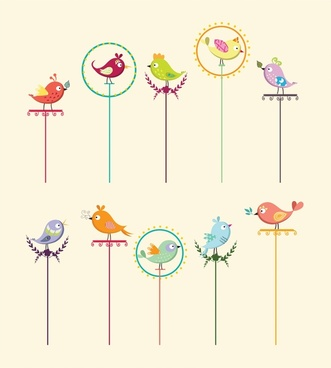 birds perching on pole collection with cartoon style