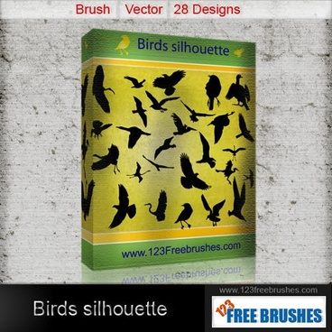 Birds silhouettes free vector and photoshop brush