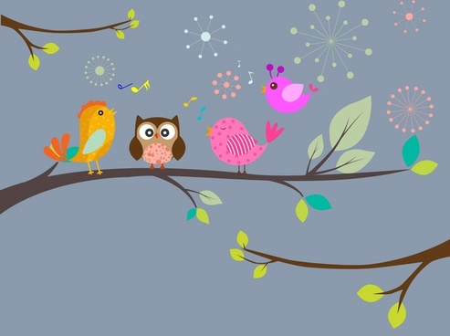 birds singing tree background with colored style illustration