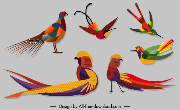 birds species icons colorful sketch modern design