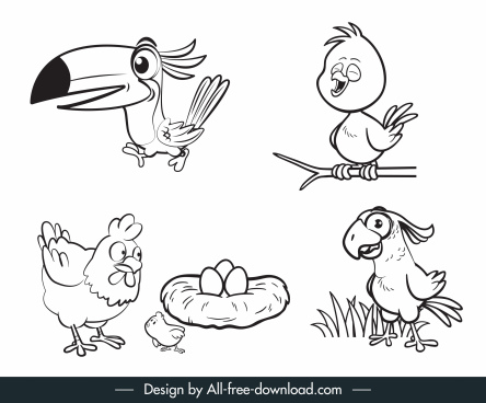 birds species icons cute handdrawn cartoon sketch