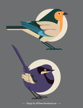 birds species icons flat classic sketch
