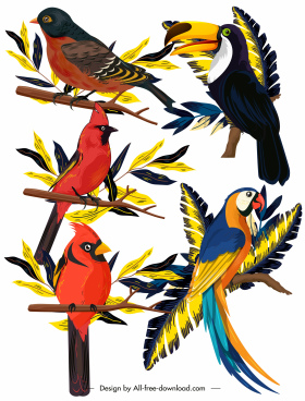 birds species icons perching sketch colorful classic design
