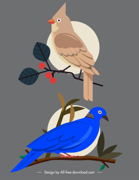 birds species icons red whiskered dove sketch