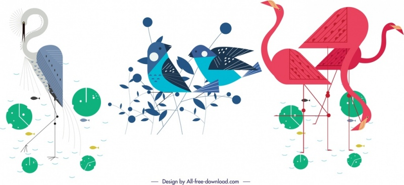 birds species icons stork sparrow flamingo symbols