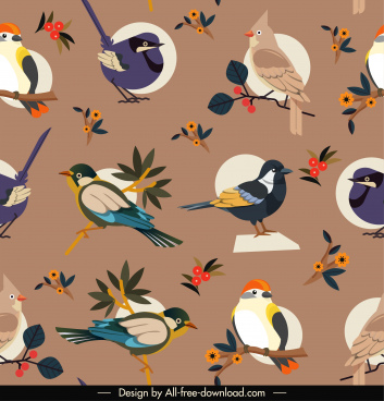 birds species pattern colorful elegant classic decor