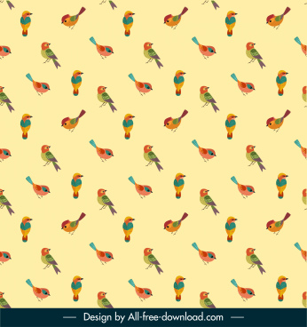 birds species pattern colorful repeating design