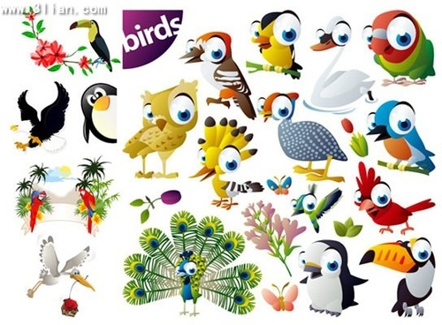 birds background templates cute colored birds icons