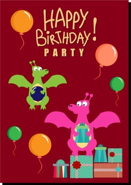 birthday background cute dragon colorful balloons icons decoration