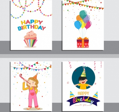 birthday background sets ribbon cake confettie kids icons