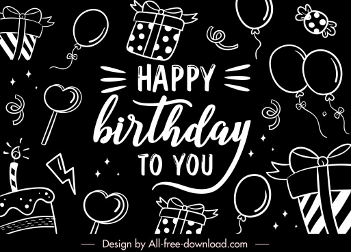birthday background template black white flat handdrawn symbols