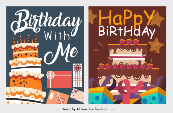 birthday background templates classic cream cakes gifts decor