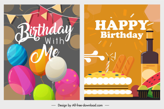birthday background templates colorful classical emblems decor