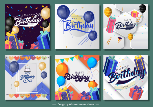 birthday background templates colorful evenful balloon gift decor