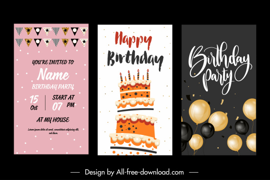 birthday background templates elegant flat festive symbols decor