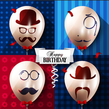 birthday background with funny balloon vector set