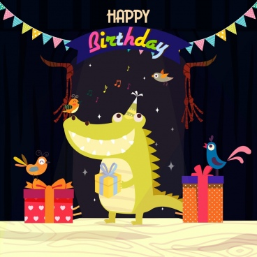 birthday banner crocodile bird icons stylized cartoon design