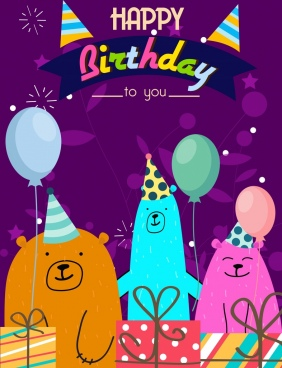 birthday banner cute bears balloon gift icons decor