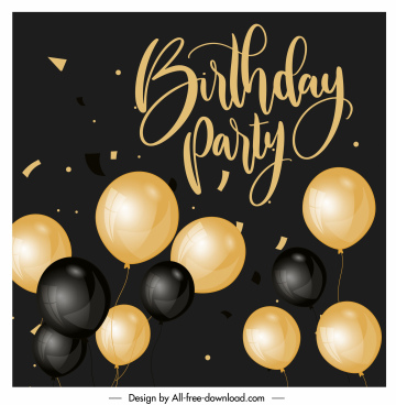 birthday banner modern shiny golden black balloons decor