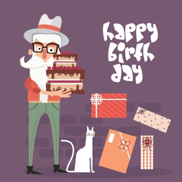 birthday banner moustache man cake greeting cards icons