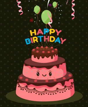 birthday banner stylized pink cake icon balloon decoration