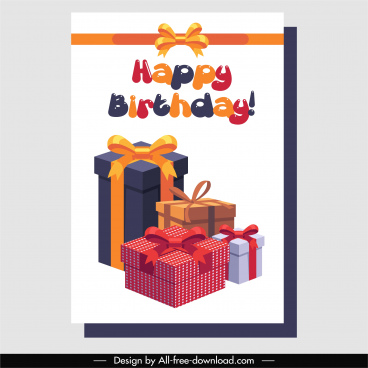birthday banner template 3d gift box decor
