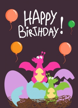 Birthday Banner Template Balloon Dragon Hatched Eggs Icons