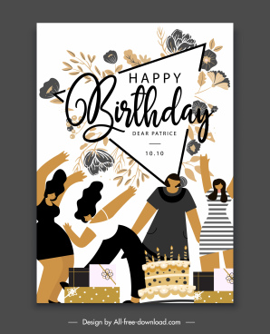 birthday banner template cheering people flowers gifts sketch