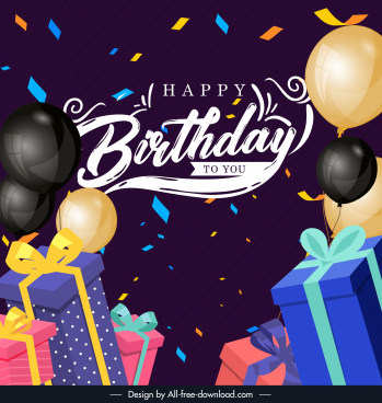 birthday banner template colorful dynamic balloon presents decor