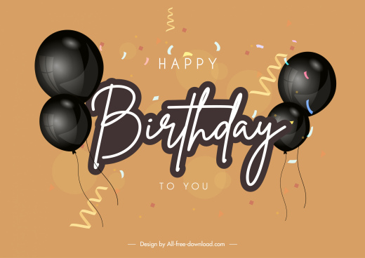 birthday banner template dynamic elegant balloon confetti decor