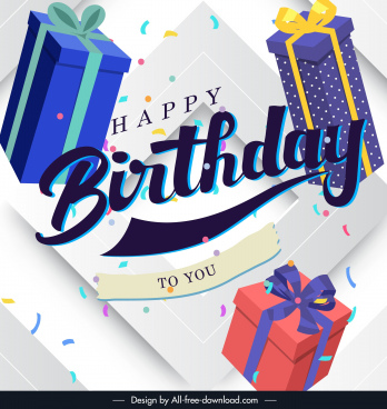 birthday banner template floating 3d gifts decor