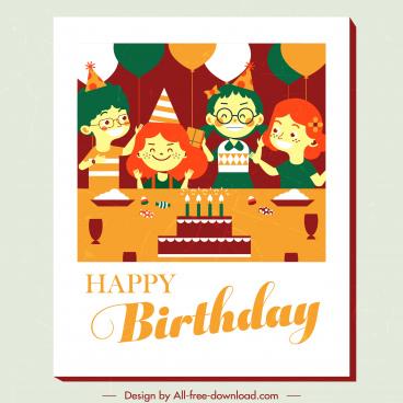 birthday banner template funny children sketch classic design