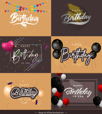 birthday banner templates elegant ribbon ballons decor