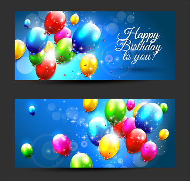 birthday banners colored balloons vector