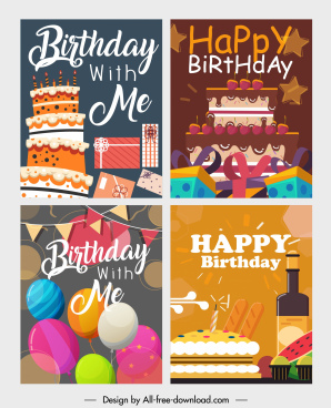 birthday banners templates colorful eventful decor classical design