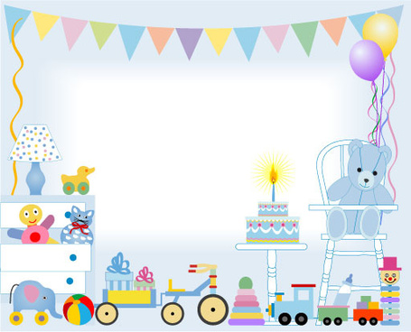 birthday cake and toys baby card vector