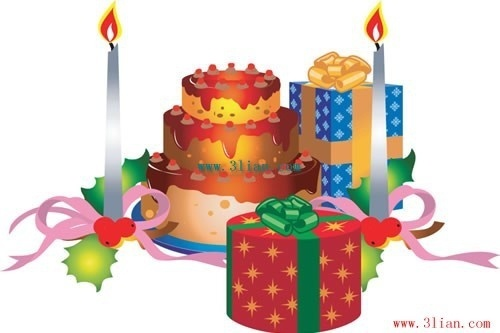birthday cake candles birthday gifts vector