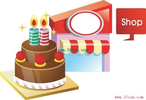 birthday cake candles gifts vector
