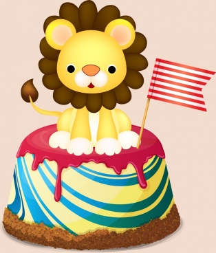 birthday cake icon shiny colorful design lion decoration