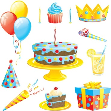 birthday design elements colorful 3d icons decor