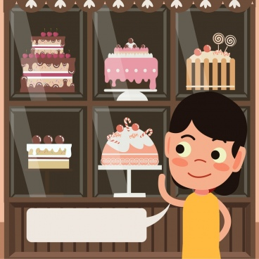 birthday cakes adverting girl speech bubble icons decor