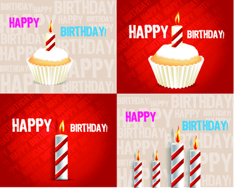 birthday cakes and candles vector set