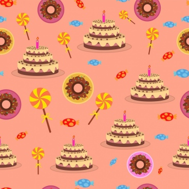 birthday cakes candies background colorful repeating icons
