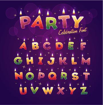 birthday candles alphabet vector