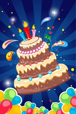birthday background cakes candles and colorful balloons decoration